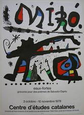 Joan miro cartel ORIG cromolitografía Eaux-fortes Espriu Paris 1978