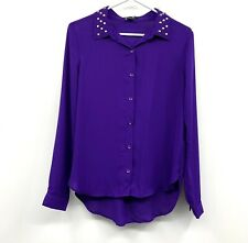 Forever 21 Button Up Top Womens Medium Purple Studded Collar Long Sleeve