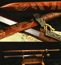 42'  1095 CARBON STEEL RED CARVING DRAGON BLADE  CHINESE HAN SWORD