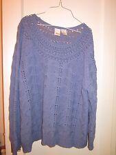 Roman's Size 1X blue Crochet Open Knit Women's Sweater