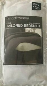 Smoothweave White 14-Inch Drop Tailored King Bed Skirt from Bed Bath Beyond NIP