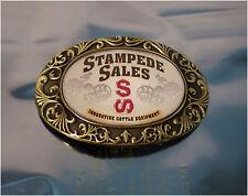Vintage Brass Belt Buckle, SS, Stampede Sales, Innovative Cattle Equipment