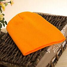 Men's Women Beanie Knit Ski Cap Hip-hop Blank Color Winter Warm Unisex Wool Hat Orange
