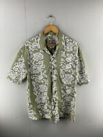 Steve & Barrys Mens Green White Floral Short Sleeve Button Up Shirt Size Large