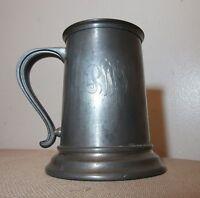 antique 1800's hand engraved pewter glass bottom stein beer mug tankard 19th c.
