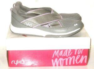 Ryka Klick Womens Shoes Gray Purple White Slip On Sneakers Size 6.5W