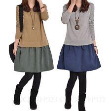 Women's Casual Crew Neck Extra short, Micro mini No Pattern Dresses