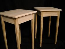 Set of 2 unfinished Pine tapered leg Dorm table night stand end table wall