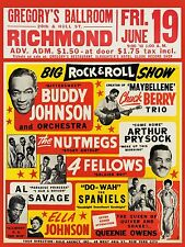"Chuck Berry / Buddy Johnson 16"" x 12"" Photo Repro Concert Poster"