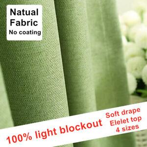 Premium 100% Blackout Curtain Light blockout Eyelet Ring Room Curtains Green