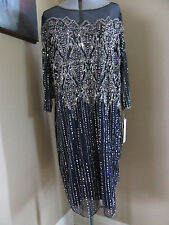 Pisarro Nights Navy Bead Mesh Cocktail Dress Size 22 W