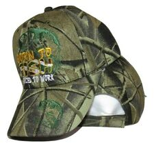 Born to Fish Forced to Work Bass Shadow Camo Camouflage Ball Cap Hat