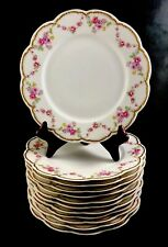 "🟢 Set of 12 Frank Haviland Limoges Paris Pink & Yellow Swag 9 5/8"" Dinner Plate"