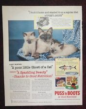 1956 Vintage Magazine Ad ~ Puss 'n Boots Cat Food ~ Siamese Cat & Kittens
