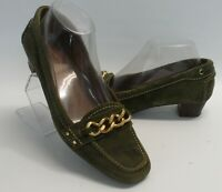 Womens Talbots Green Suede Leather Gold Chain Loafers Heels Shoe Size 7.5 B