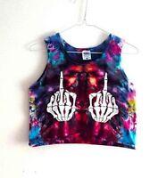 90s Grunge Tie Dye Crop Top Summer Vest Festival  Middle Finger Swearing Skull