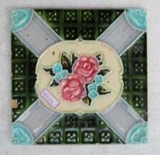 VINTAGE TILE ART NOUVEAU MAJOLICA PINK FLOWER DESIGN ARCHITECTURE TILE NH4439