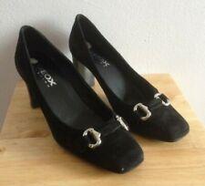 "Geox Ladies Black Suede Shoes EU 38 UK 5 Court 3"" Heel Bit Silver Slip Office"