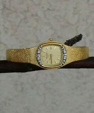 "Bulova Diamond Watch Gold Tone Bracelet & Dial Fit: UP TO 6"" WRIST NEW BATTERY"