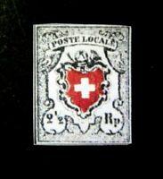 Switzerland 1850 Federal 2 1/2 Black & Red,Sc 4,Zum 14 II $ 43000,  Replica