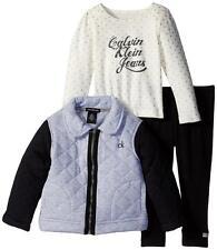 Calvin Klein Toddler Girls Gray Quilted Jacket 3pc Legging Set Size 3T $79.50