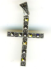 925 Sterling Silver Marcasite Cross Pendant Square Stones Length 38mm 1.1/2""