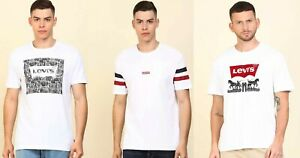 Levis Men Crew neck Short Sleeve Cotton Logo White T shirt Tee Top  M L XL 2XL