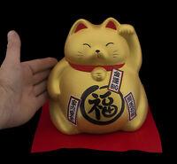 Enorme Gatto Giapponese Grande Salvadanaio 20cm Maneki Neko Dorato 40651