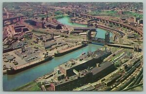 Cleveland Ohio~Air View of City & Cuyahoga River Industry District~Vintage Postc