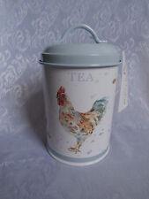 COUNTRY COCKEREL METAL TIN TEA CANISTER DUCK EGG BLUE By THE LEONARDO COLLECTION