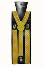 Mustard Yellow Polka Dot Adjustable Braces Unisex Fancy Dress Clip On Slim 2.5cm