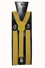 Mustard Yellow Polka Dot Adjustable Braces Unisex Fancy Dress Clip On Slim 2.5cm