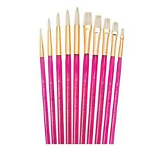 Royal 10 White Bristle Brushes Set.  Artists Oil & Acrylic Painting Ref: SVP5