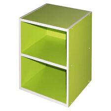 Green 2 Tier Strong Wooden Bookcase Shelving Storage Organiser Cube Home Office