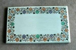 18 x 30 Inches Shiny Gemstones Inlaid Coffee Table Top White Marble Sofa Table