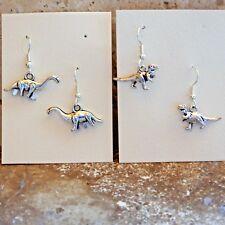 2 pair 3D dinosaur pewter dangle earrings Tyrannosaurus, T-Rex, Brontosaurus