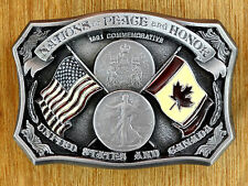 Us-Canada Commemorative Buckle. 1991. Nations of Peace and Honor