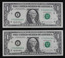 Two $1 1995 Cu bp 295 Engraving Error Federal Reserve Notes I71250412G & 16G Fsp