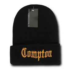 Black & Gold Compton Vintage Embroidered Hip Hop Cuffed Beanie Beanies Hat Hats