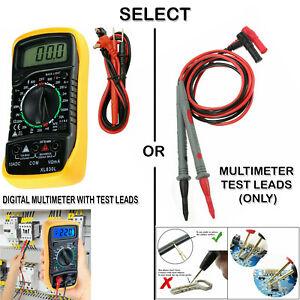 LCD Digital Multimeter Voltmeter AC DC Ammeter Ohmmeter + 1000 V 10A Test Leads.