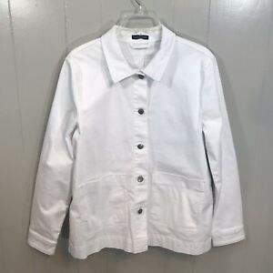 Eileen Fisher Organic Cotton White Stretchy Pockets Button Up Denim Coat Large