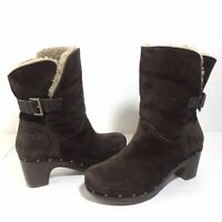 Ugg Australia Amoret Womens Size 9 Boots Brown Suede Heels 1003373