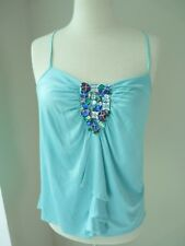 GENUINE EMILIO PUCCI SILK TOP JEWELS EMBROIDERIES 100% SILK TEAL SIZE 40  CHIC