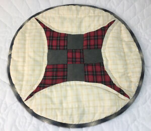 Patchwork Country Quilt Table Topper, Round, Nine Patch, Plaids, Checks, Multi