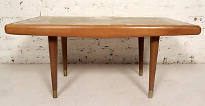 Mid-Century Modern Marble Top Coffee Table (07206)NS