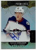 17-18 UD Trilogy Rookie Gabriel Carlsson Auto SP RC Rare Blue Jackets Level 2 94
