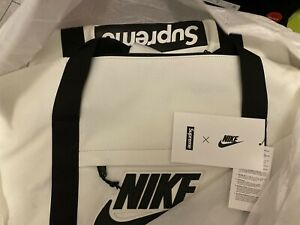 NEW Supreme Nike Leather Duffle Bag White SOLD OUT Authentic!
