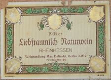 ETICHETTA RHEINHESSEN LIEBFRAUMILCH NATURWEIN WINE VINO GERMANIA GERMANY