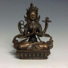 Tibet Buddhism bronze four hands Arm Kwan-Yin Guan Yin Bodhisattva Buddha Statue
