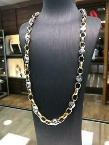 "BRITISH BELCHER 14ct YELLOW WHITE GOLD Chain Necklace 26"" 10MM BRAND NEW"